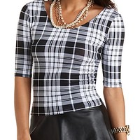 Plaid Caged-Back Crop Top by Charlotte Russe - Black/White