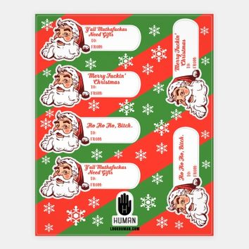 Rude Santa Gift Tag Stickers