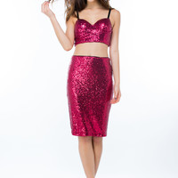 Sequins Of Events Slit Pencil Skirt