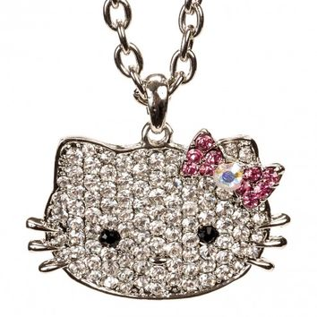 Hello Kitty Silver Thin Face & Bow Necklace w/ Crystal Rhinestones