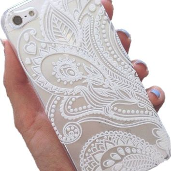 """Acefast INC Plastic Case Cover for for Apple Iphone6 4.7"""" Iphone6 5.5"""" Henna White Floral Paisley Flower Mandala (For Iphone 6 4.7"""")"""
