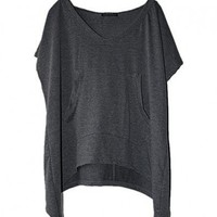 Slouchy Hooded T-shirts with Batwing Sleeves
