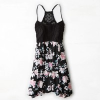 AEO Crocheted Babydoll Dress, Floral | American Eagle Outfitters