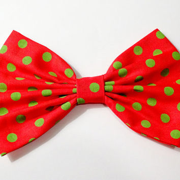 Christmas Bow Holiday Bow Green Polkadots Bow Red Merry Christmas Bow Xmas Clip Gifts for her Gifts for girls Gifts under 10 Gifts under 5