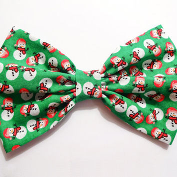 Christmas Bow Snowman Bow Clip Christmas Hair Bow Clip Holiday Bow Green Hair Bow Gifts for girls Gifts for her Gifts under 10 Gifts under 5