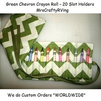 Green Chevron, Chevron, Chevron Birthday, Chevron Chevron Birthday Favor, Crayon Roll, 20 Count Crayon Roll