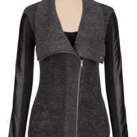 sweater jacket with faux leather sleeves