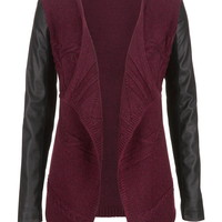 faux leather sleeve open front cardigan