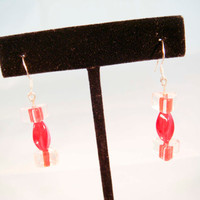 Holiday Sale Sterling Silver Red Triangle Glass Beaded Earrings