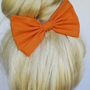 Orange Hair Bow clip hair accessories Orange bow Orange hair clip big hair bows large hair bows woman hair bows girls hair clips teens bow