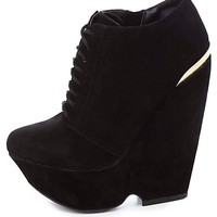 BAMBOO GOLD-PLATED LACE-UP PLATFORM WEDGES