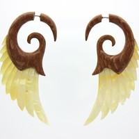 Tribal Shack Women's Hawaii Koa Wood And Yellow Mop Shell Aneleg Wings Fake Gauge Earrings T316L Stainless Steel