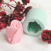 Soap Mold Candle Molds Cylinder Vivid Rose Flowers Christmas Gift  Silicone Mold, For Soap, Candy,Cake, Ice,Craft
