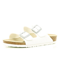 River Island Womens White Birkenstock double strap mule sandals
