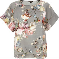 River Island Womens Grey floral print top
