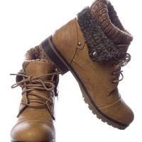 Refresh Ice Breaker Faux Leather Lace Up Sweater Cuff Boots - Tan