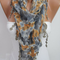 Gray and Orange Roses Floral  Shawl Scarf - Headband Necklace Cowl- Summer Trends