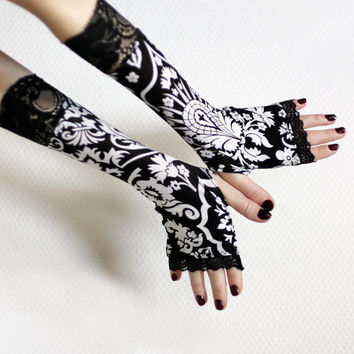 Victorian black and white ,  damask  fingerless  gloves  with black lace -  Arm Warmers,  Gothic, Dark, steampunk, flower