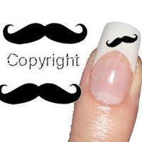 50 Black Mustache Decal - Tattoo Nail Art  sticker 2 sizes