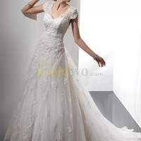 [US$520.99] Ivory A-line V-neckline Short Sleeves Beaded Lace Wedding Dress
