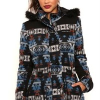 Aztec Print Anorak Jacket with Fur Trimmed Hood