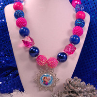 Elsa and Anna Snowflake Necklace, Chunky Beaded Necklace,Frozen Boutique Jewelry