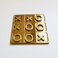 ON SALE Vintage Brass Tic Tac Toe Game Vintage Board Game Brass Coffee Table Game Travel Tic Tac Toe Game Home Décor