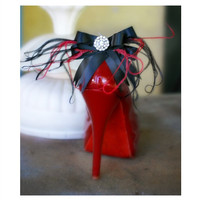 Black & Red Bows Shoe Clips. Feathers Rhinestone. Tangerine Blue Green Satin Ribbon. Gift Under 50, Ivory / White Pearls, Bright Happy Chic