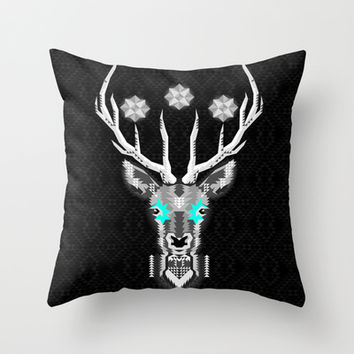 Silver Stag Geometric Throw Pillow by Chobopop