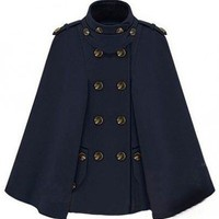 Star Talks Double-breasted Dark Blue Cape  style coat108