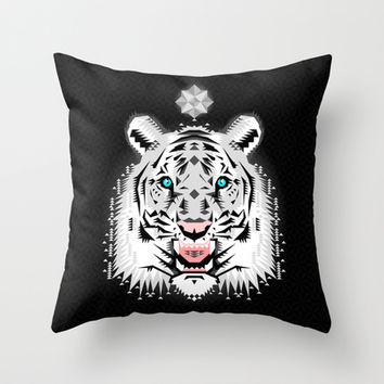 Silver Geometric Tiger Throw Pillow by Chobopop