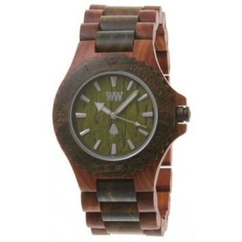 WeWood Date Brown and Army Wood Watch