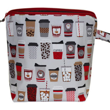 NEW Large Project Bag with Pocket | Coffee Knitting Bag | Coffee Cups Bag with Pocket | Two (2) Yarn Guides