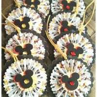 EIGHT Disney Mickey Mouse Paper Rosettes Bejeweled Red Black Yellow Layered Handmade All Occasion Gift Tags