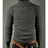 Variety Match Mens High Neck Dark Gray Knitting Sweater S/M/L @6401DH
