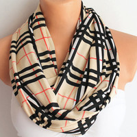 Infinity Scarf Loop Scarf Circle Scarf Cowl Scarf Burberry Pattern Print