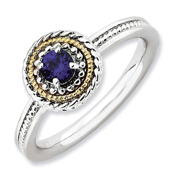 Stackable Expressions™ Rope Framed Lab-Created Blue Sapphire Ring in Sterling Silver and 14K Gold