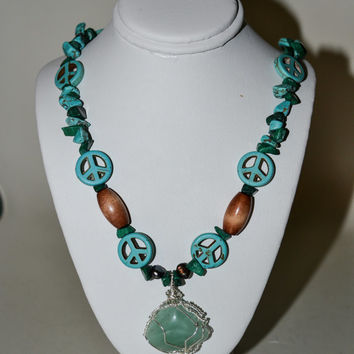 Wire Wrap Green Stone on a Malachite and Turquoise Stone Chip Necklace with Howlite Peace Signs
