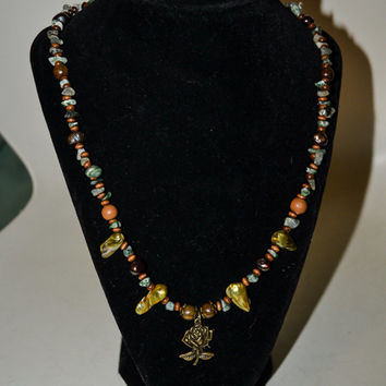 Bronze Tone Rose Charm Necklace with Jade Chips, Wood Beads, and Freshwater Pearls