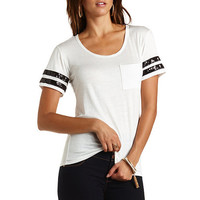 Sequin-Striped Varsity Tee by Charlotte Russe - White Combo