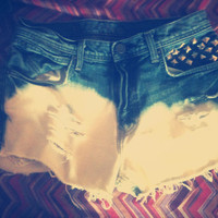 Ombre Destroyed Studded High Waisted shorts