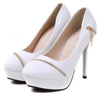 Sexy White Multi-Zip High Heel   style cy820005
