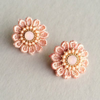 Peach Lace Earrings - Default Title
