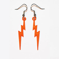 Lightning Bolt Earrings, Lightning Jewelry, Thunder Bolt Earrings, Orange Lightning Bolts