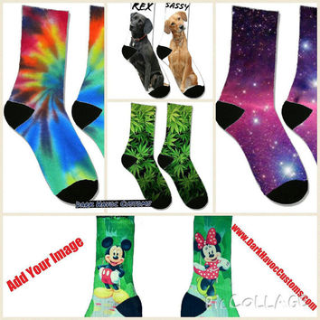 Design your Custom Personalized unisex crew socks. Great gift for the holidays wedding birthday sports team. add your image logo or design