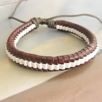 Leather and Cotton Ropes Woven Men Leather Jewelry Bangle Cuff Bracelet Women Leather Bracelet  818A-BR
