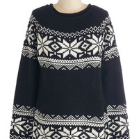 ModCloth Mid-length Long Sleeve The More You Snowflake Sweater in Black