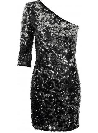 Shoulder Black Dress on Black Sequin One Shoulder Mini Dress On Wanelo