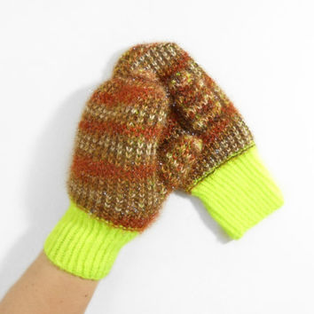 Hand Knitted Mittens - Neon Yellow and Brown, Size Medium