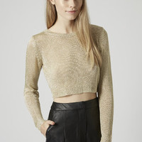 Metallic Yarn Crop Top